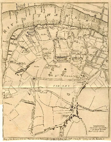 1766 Plan of the Surrey Side of the Thames with a Plan for Laying Out the Roads   Gentleman's Magazine